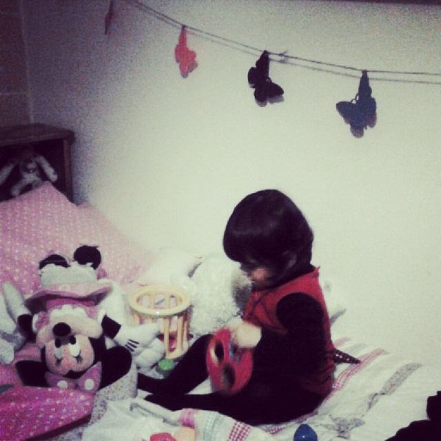 She spent hours playing on her new bed. She loved her butterfly garland and was reunited with forgotten friends :)
