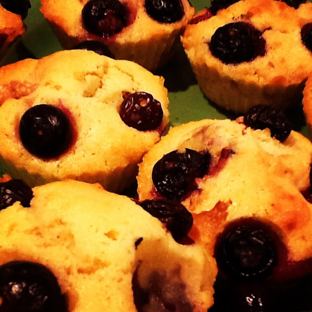 The muffins, two of which were 'destroyed' by C who found them, removed the blueberries and poked her fingers in the remaining holes...