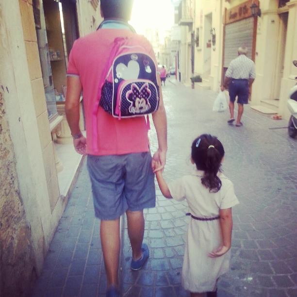 12 hours after her sister was born, Cesca started school!